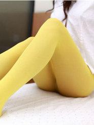 黄色丝袜90后非主流丝袜女秀美腿